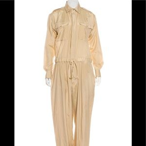 Ralph Lauren silk jumpsuit tan belted 6